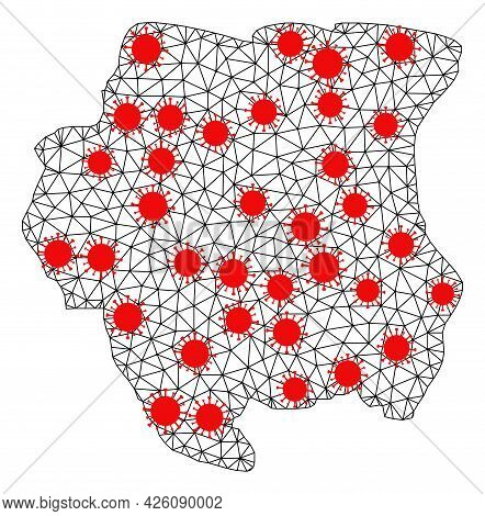 Carcass Polygonal Map Of Suriname Under Infection. Vector Model Is Created From Map Of Suriname With
