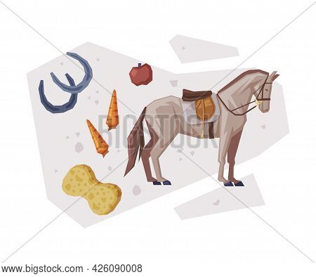 Racing Horse With Saddle, Equestrian Sport Equipment, Food, Grooming Tools Vector Illustration