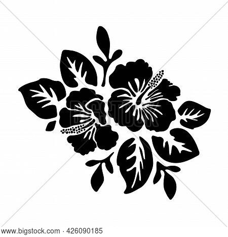 Black Tropical Exotic Hibiscus Flowers Vector Tattoo Silhouette Drawing Illustration.hawaiian Floral
