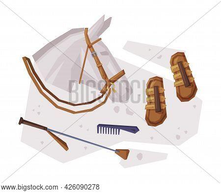 Equestrian Sport Equipment, Grooming Tools Set Vector Illustration