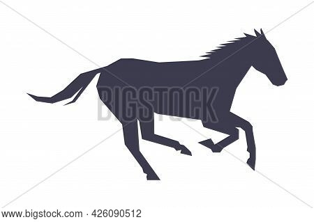 Graceful Racing Horse Silhouette, Derby, Equestrian Sport Vector Illustration