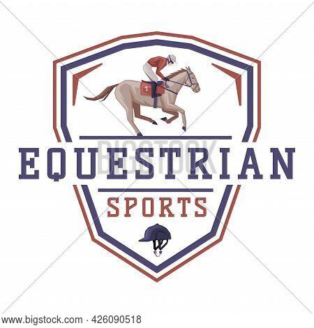 Equestrian Sports Logo Design, Jockey Racing With Horse, Derby, Tournament Label, Emblem Vector Illu