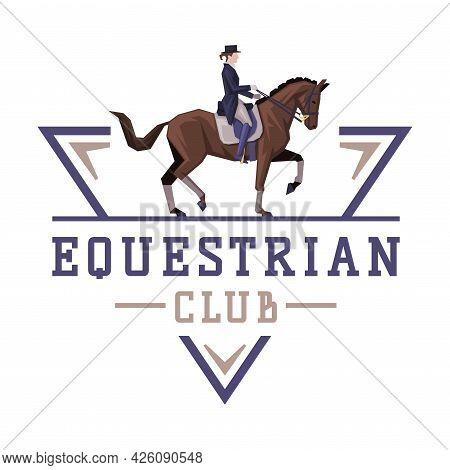 Equestrian Club Logo Design, Horse With Jockey, Derby, Tournament Label, Emblem Vector Illustration