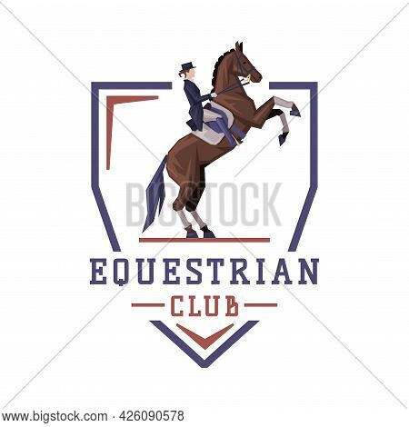 Equestrian Club Logo Design, Jockey Riding With Jumping Horse, Competition, Tournament Label, Emblem