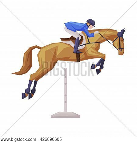 Jockey Overcoming Of Obstacles On Racing Horse, Derby, Equestrian Sport Vector Illustration