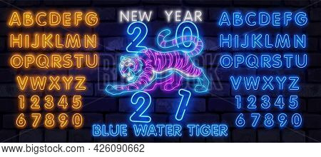 Neon Chinese New Year 2022 Year Of The Tiger, Line Art Character, Neon Style On Black Background. Ha