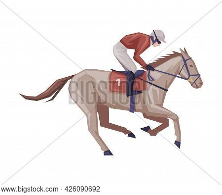 Jockey Galloping On Racing Horse, Horse Racing Competition, Derby Vector Illustration