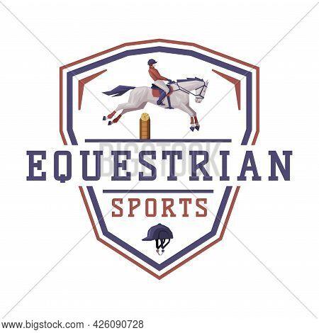 Equestrian Sports Logo Design, Derby, Tournament, Competitions Emblem Vector Illustration