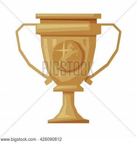 Golden Winner Cup Equestrian Sports Equipment Vector Illustration