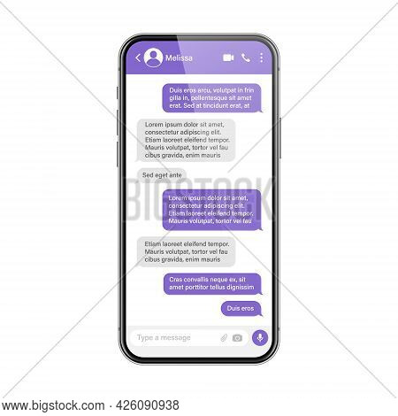 Realistic Smartphone With Messaging App. Sms Text Frame. Conversation Chat Screen With Violet Messag