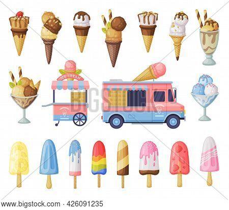 Ice Cream Set, Fresh Cold Sweet Tasty Desserts, Waffle Cones, Popsicles And Ice Cream Vendor Truck C