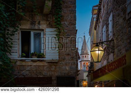 Budva Old Town Street At Night. Montenegro, Balkans, Europe Travel.