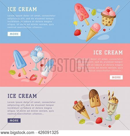 Ice Cream Landing Page Templates Set, Cold Summer Tasty Desserts Horizontal Web Banners Cartoon Vect