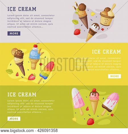 Ice Cream Landing Page Templates Set, Cold Summer Tasty Desserts Of Different Flavors Horizontal Web