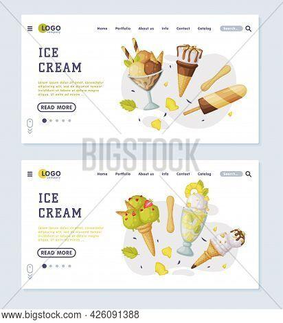 Ice Cream Landing Page Set, Cold Summer Tasty Desserts Menu Web Page Cartoon Vector Illustration