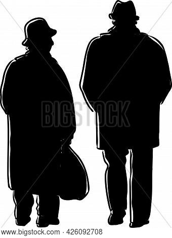 Drawing Of Silhouettes Elderly Couple Walking On A Stroll