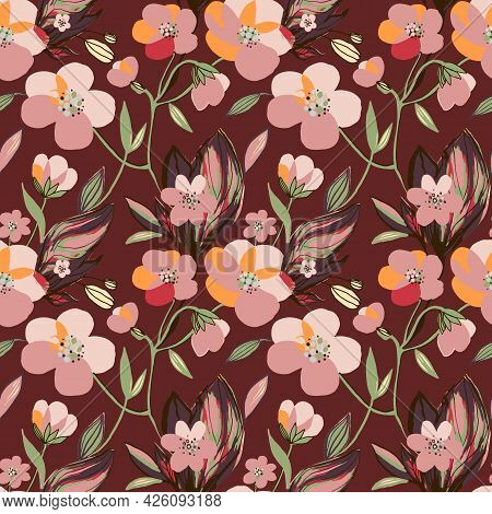 Hand Drawn Pink Anemone Blooming Flowers Seamless Pattern. Botanical Floral And Leaves Background. V
