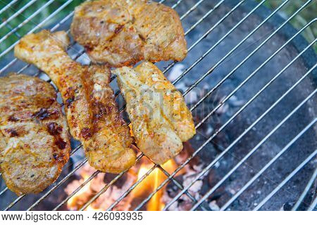 Chuck Steaks Being Barbequed Outdoors In A Garden