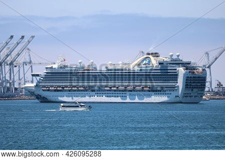 July 6, 2021 In Long Brach, Ca:  Princess Cruise Ship Anchored At The Long Beach, Ca Harbor During T