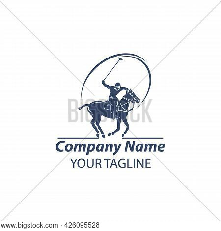 Horse Polo And Sign Player. Vector Illustration. Branding Identity Company Logo Design Template. Eps