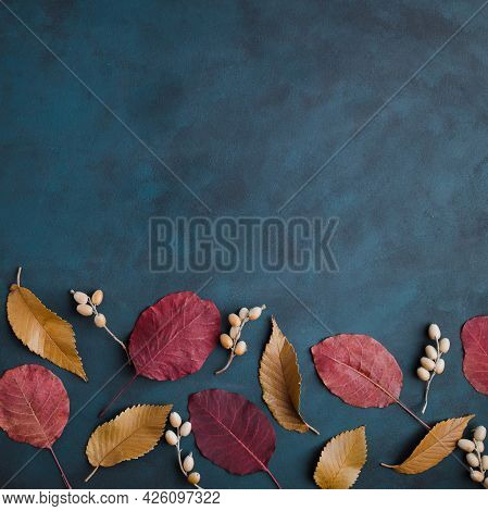 Autumn Floral Design Greeting Card Of Dried Leaves