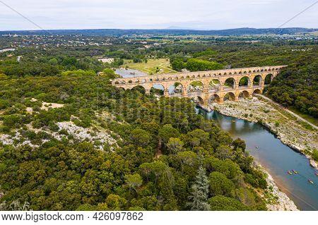 Roman aqueduct, Pont-du-Gard, Languedoc-Roussillon France, Aerial view