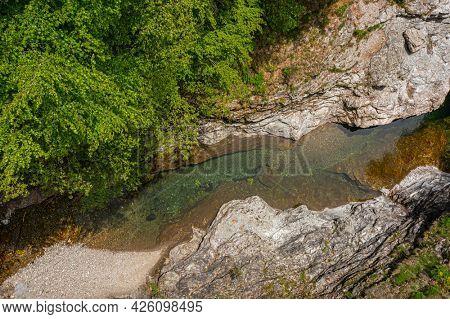 Top view on Malzac river on the GR 70, Robert Louis Stevenson Trail, Cassagnas, Cevennes, France