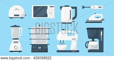 Household Appliances Set. White Microwave, Kettle, Blender, Mixer, Coffee Machine, Iron And Toaster.