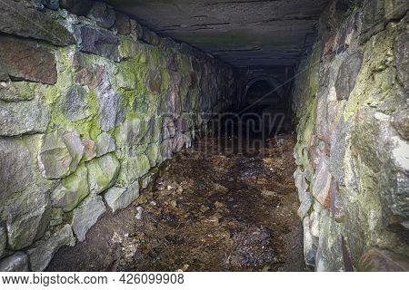 Old Underground Canal, Water Drainage System. Ancient Underground Passage, Building.
