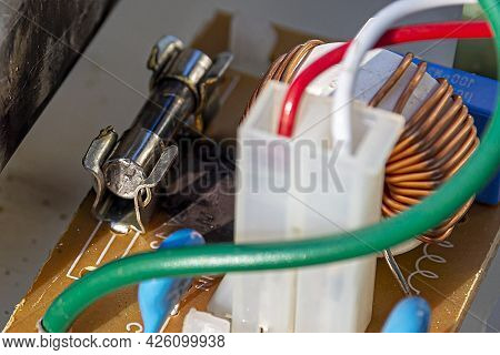 Circuit Diagram With Blown Fuse. Electrical Network Concept, Safety And Short Circuit.