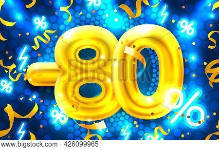 80 Percent Off. Discount Creative Composition. 3d Mega Sale Symbol With Decorative Objects. Sale Ban