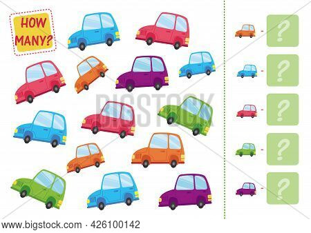 Count How Many Cars Are On The Sheet And Write The Number In The Square. Mini Math Game, Count The N