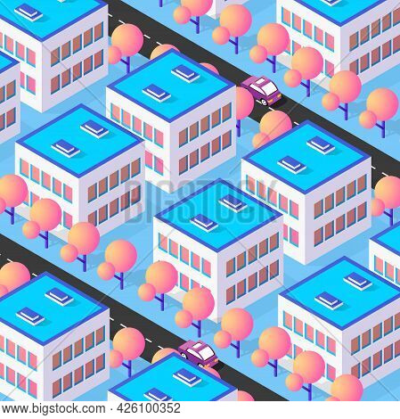 Isometric 3d Street Downtown Architecture District Part