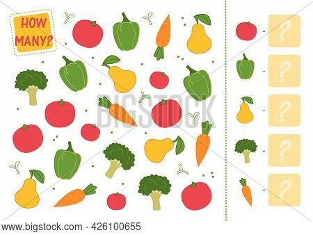 Count How Many Vegetables And Fruits You Have And Write The Number In The Square. Math Mini Game, Co