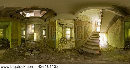 Spherical Panorama 360 Degrees Of Ruined Staircase In Abandoned Building With Shabby Walls And Windo