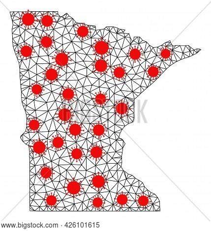 Wire Frame Polygonal Map Of Minnesota State Under Lockdown. Vector Model Is Created From Map Of Minn