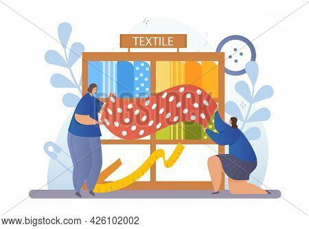 Concept Of Choosing A Fabric. Two Women Hold A Piece Of Material In Their Hands And Measure Its Leng