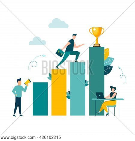 Businessmen Move Up The Ladder To The Goal In The Form Of A Gold Cup, Career Planning, The Path To T