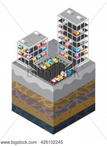 Motor Vehicle Parking Urban Landscape Soil Layers Geological And Underground