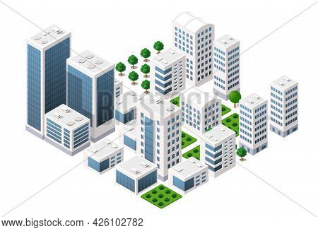 Isometric Vector Downtown Skyscraper Illustration Of A Modern