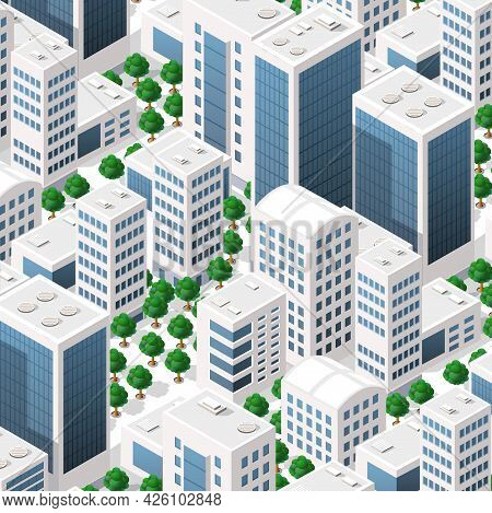 Isometric Landscape Structure Of City Buildings, Skyscrapers, Streets