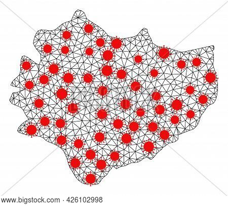 Wire Frame Polygonal Map Of Swietokrzyskie Province Under Outbreak. Vector Structure Is Created From