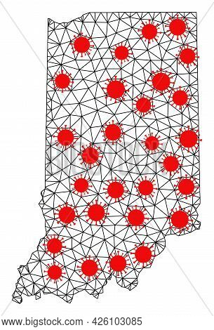 Carcass Polygonal Map Of Indiana State Under Infection. Vector Structure Is Created From Map Of Indi