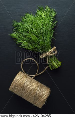 Dill. Cilantro. Vegetables For Salad Dill With Parsley On A Table.  Copy Space, Raw Food Concept, Cl