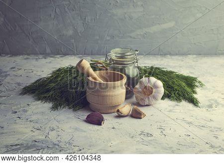 Fresh Green Parsley, Garlic, Spices And Dill . Creative Food Background, Salad Greens, Herb, Vegan O