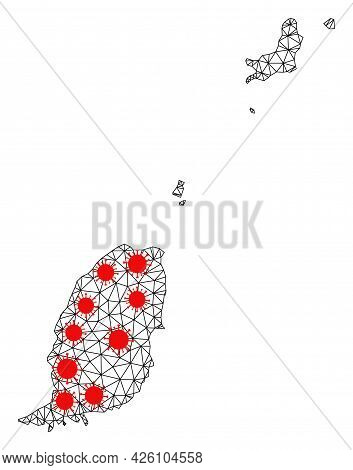 Wire Frame Polygonal Map Of Grenada Islands Under Infection. Vector Structure Is Created From Map Of