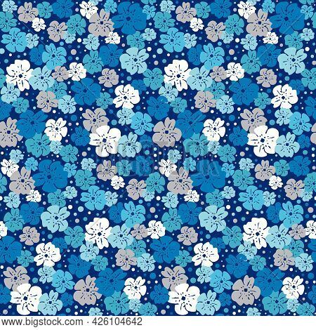Various Blue Shades, White And Silver Grey Flowers With Dots Scattered On A Darker Navy Background R