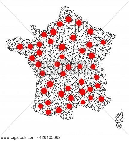 Wire Frame Polygonal Map Of France Under Outbreak. Vector Structure Is Created From Map Of France Wi
