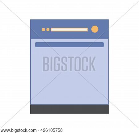 Simple Icons Of Dishwasher Blue. Vector Isolate On White. Flat Style Kitchen Appliances.