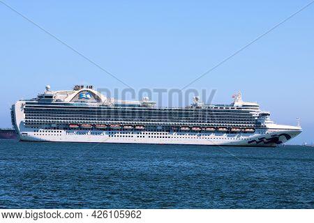 July 6, 2021 In Long Beach, Ca:  Princess Cruise Ship Anchored At The Long Beach, Ca Harbor During T